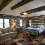 Interior of the Brundage Cabin rental in Montana